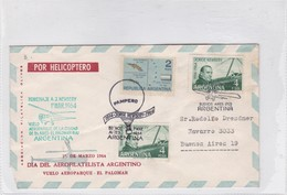 HOMENAJE A J.NEWBERI 1964 VUELO AEROPARQUE DE LA CIUDAD DE BUENOS AIRES~EL PALOMAR, POR HELICOPTERO- BLEUP - Poste Aérienne