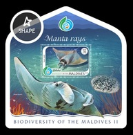 Maldives 2018 Mih. 7556 (Bl.1184) Fauna. Biodiversity Of Maldives (II). Manta Rays MNH ** - Maldives (1965-...)