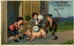 Kind Mit Schwein - Prägekarte - Maiali