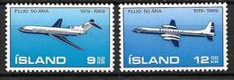 Islande 1969 Poste Aérienne N° 32/33 Neufs ** MNH,50 Ans Aviation Islandaise - Luftpost