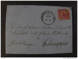 """4525 ITALIA Regno-1866- """"T 20 Torino"""" C. 40 FIRENZE>CHIOGGIA (descrizione) - 1861-78 Vittorio Emanuele II"""