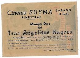 A7. Cine. Pelicula 3 ANGELITOS NEGROS. Marujita Diaz. Folleto De Mano Diptico Publicitario Cine SUYMA. Finestrat. - Publicidad