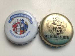Lote 2 Chapas Kronkorken Caps Tappi Cerveza Schwarzbacher. Alemania - Beer