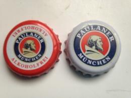 Lote 2 Chapas Kronkorken Caps Tappi Cerveza Paulaner. Munich.  Alemania - Beer