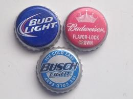 Lote 3 Chapas Kronkorken Caps Tappi Cerveza Anheuser Busch. Estados Unidos De América - Beer