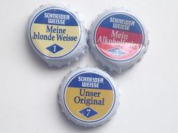 Lote 3 Chapas Kronkorken Caps Tappi Cerveza Schneider Weisse. Alemania - Beer