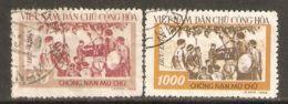 North Vietnam 1958 Mi# 68-69 Used - Short Set - Anti-illiteracy Campaign - Viêt-Nam