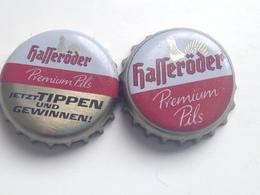 Lote 2 Chapas Kronkorken Caps Tappi Cerveza Hasseroder. Alemania - Beer