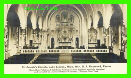 LAKE LINDEN, MI - ST JOSEPH'S CHURCH, MAIN ALTAR  - REV. N. J. RAYMOND, PASTOR - - Etats-Unis