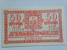 Billete 50 Céntimos. 1937. Alicante. España. Facsimil. Guerra Civil. Sin Circular - [ 2] 1931-1936 : República