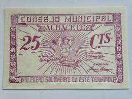 Billete 25 Céntimos. 1936-39. Albacete, Castilla La Mancha. España. Facsimil. Guerra Civil. Sin Serie. Sin Circular - [ 2] 1931-1936 : República