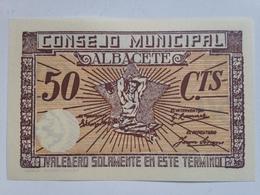 Billete 50 Céntimos. 1936-39. Albacete, Castilla La Mancha. España. Facsimil. Guerra Civil. Sin Serie. Sin Circular - [ 2] 1931-1936 : República