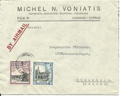 Zypern, 6+9 Pia. Auf Firmen Luftpost Brief V. Larnaca N. Schweden. - Malta