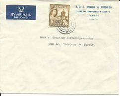 Malta 1958, 8d Auf Firmen Luftpost Brief V. Valetta N. Norwegen. - Malta