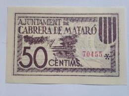 Billete 50 Céntimos. 1936-39. Cabrera De Mataró, De Mar, Barcelona, Cataluña. España. Facsimil. Guerra Civil. Sin Serie. - [ 2] 1931-1936 : República