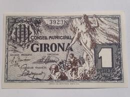 Billete 1 Peseta. 1937. Girona, Cataluña. España. Facsimil. Guerra Civil. Sin Circular - [ 2] 1931-1936 : República
