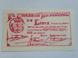 Billete 25 Céntimos. 1937. Lorca, Murcia. España. Facsimil. Guerra Civil. Sin Serie. Sin Circular - [ 2] 1931-1936 : República