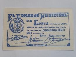 Billete 50 Céntimos. 1937. Lorca, Murcia. España. Facsimil. Guerra Civil. Sin Serie. Sin Circular - [ 2] 1931-1936 : República