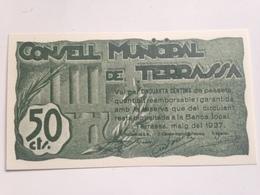 Billete 50 Céntimos. 1937. Terrassa, Tarrasa, Barcelona, Cataluña. España. Facsimil. Guerra Civil. Sin Serie. Sin Circul - [ 2] 1931-1936 : República