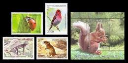 Uzbekistan 2018 Mih. 1323/26 + 1327 (Bl.88) Fauna. Ladybird. Lizard. Bird. Rosefinch. Gerbil. Squirrel MNH ** - Uzbekistan