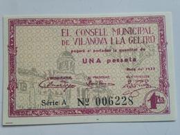 Billete 1 Peseta. 1937. Vilanova I La Geltrú, Barcelona, Cataluña. España. Facsimil. Guerra Civil. CNT. FAI Sin Circular - 1-2 Pesetas