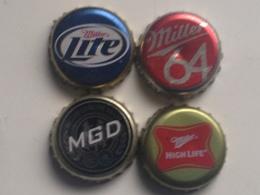 Lote 4 Chapas Kronkorken Caps Tappi Cerveza Miller. Estados Unidos De América - Beer