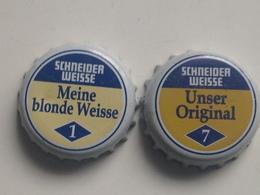 Lote 2 Chapas Kronkorken Caps Tappi Cerveza Schneider Weisse. Alemania - Beer