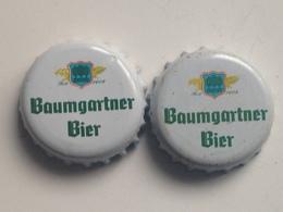 Lote 2 Chapas Kronkorken Caps Tappi Cerveza Baumgartner Bier. Austria - Bière