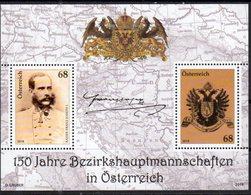 AUSTRIA, 2018, MNH,BEZIRKSHAUPTMANNSCHAFTEN IN AUSTRIA, DISTRIC COMMISSIONS, FRANZ JOSEPH, COAT OF ARMS, EAGLES, S/S - Other