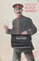 CPA-ALLEMAGNE- HERZLICHEN GLÜCK-WUNSCH- Facteur Dans Sa Sacoche Dépliant Courrier-1911-2scans - Postal Services