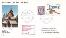 FIRST FLIGHT LUFTHANSA LH 025  BOEING 737 OSLO~STUTTGART 1986 - BLEUP - Lettres & Documents
