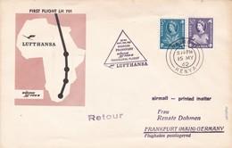 FIRST FLIGHT LH 701 BOEING JET 720 B NAIROBI~FRANKFURT 1962 KENYA- BLEUP - Kenia (1963-...)