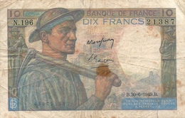 N. 1 Banconota - BANQE  DE  FRANCE  -  FRANCHI 10  -  Anno 1949 - 1871-1952 Antichi Franchi Circolanti Nel XX Secolo