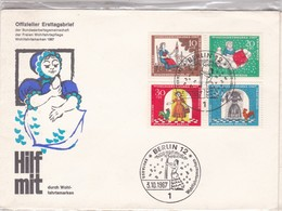 HILF MIT KURCH WOHL FAHRTSMARKEN-FDC BERLIN 1967 - 4 COLOR STAMPS- BLEUP - [5] Berlin