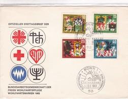 FREIEN WOHLFAHRSTSPFEGE WOHLFAHRTSMARKEN -FDC BONN 1963 - 4 COLOR STAMPS- BLEUP - [7] République Fédérale