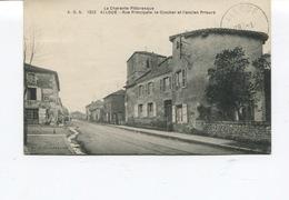 CPA - ALLOUE - Rue Principale, Le Clocher Et L'ancien Prieuré   - Cachet D'ALLOUE - France
