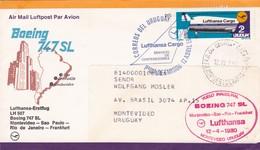 FIRST FLIGHT- LUFTHANSA LH 507 BOEING 747 SL MONTEVIDEO~SAO PAULO~RIO DE JANEIRO~FRANKFURT 1980-AUTRES MARQUES- BLEUP - Uruguay