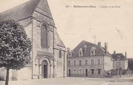 41 SELLES SUR CHER. CPA. L'EGLISE ET LA POSTE. ANNEE 1915 - Selles Sur Cher