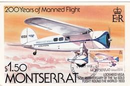 200 YEARS OF MANNED FLIGHT, LOCKHEED VEGA-MAXIMUM CARD MONTSERRAT 1993- BLEUP - Montserrat