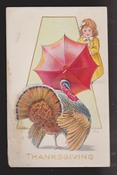 Thanksgiving Greetings - Turkey & Girl - Used - Embossed Stained - Thanksgiving