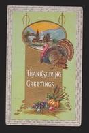Thanksgiving Greetings - Turkey & Church - Used 1911 - Embossed - Thanksgiving
