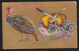 Thanksgiving Greetings - Turkey & Pumpkin - Used - Embossed - Thanksgiving
