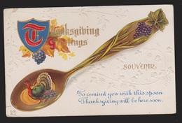 Thanksgiving Greetings - Turkey & Spoon - Used 1912 - Embossed - Thanksgiving