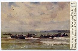 ARTIST CARD : FISHING - WAITING FOR THE PILCHARDS / ADDRESS - WALTHAM CROSS, TURNER'S HILL (TUCKS) - 1900-1949