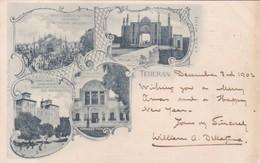 IRAN. TEHERAN (PERIPHERIE) MULTI VIEW C.O.H.M. CIRCULEE 1902 TO ENGLAND. TIMBRE ARRANCHE. RARISIME. TBE- BLEUP - Iran