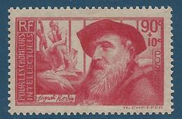 FRANCE 1937 - YT N°344 - 90 C. +10 C. Rose Carminé  Auguste Rodin - Au Profit Chômeurs Intellectuels - Neuf** - TTB Etat - Nuovi