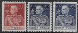 Italia Italy 1925 Regno Giubileo 3val Sa N.188-190 Nuovi MH * - Nuovi