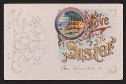 General Greetings - Love To Sister - Used - Embossed - Greetings From...