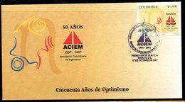 COLOMBIA- KOLUMBIEN- 2007 FDC/SPD. 50 YEARS OF COLOMBIAN ASSOCIATION OF ENGINEERS - Colombie