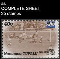 CV:€6.68 TUVALU-Nanumea 1986 World Cup Mexico Chile Final Brazil Czechoslovakia 1962 40c COMPLETE SHEET:25 Stamps - Tuvalu
